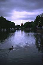 [ The river Avon at dusk, looking towards Holy Trinity Church, Stratford-upon-Avon ]