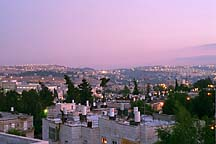 [ View of the Old City of Jerusalem from the Livnot rooftop at dusk. ]