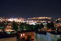 [ View of the Old City of Jerusalem from the Livnot rooftop at night.  Note the shooting star. :) ]